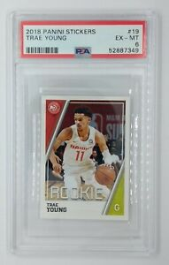 2018 Panini Album Stickers Trae Young Rookie RC #19, Graded PSA 6, Pop 1, 30 ^