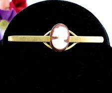CAMEO TIE CLASP MEN'S Vintage Goldtone Bar Brown & White Costume Jewelry