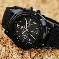 Mens Sport Watch Canvas Analog Quartz Waterproof Fashion Military Watches Male