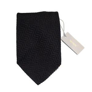 Men's Tom Ford Silk Cotton Solid Black Woven Dobby Chevron Neck Tie MSRP $240
