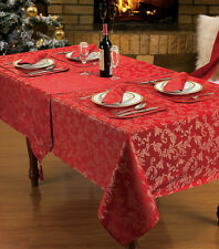Luxurious Christmas Damask Red Gold Table Cloth Napkins & Placemats 52 X 70cm