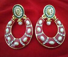 Indian Bollywood Handmade Meenakari Both sided pink Pearl Jhumka Jhumki Earrings
