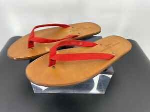 RALPH LAUREN PAXHILL MENS BROWN LEATHER/RED CANVAS SLIPPER/SANDAL SIZE 12 (F5)