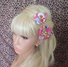 """Hecho A Mano 5 """"Pink Candy Sugar Skull tejido de algodón Arco Pelo Clip Rockabilly Retro"""