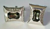 Vintage SWANK late 1940s Slivertone Green Rectangle Glass Center Cufflinks 1950s