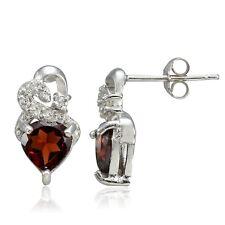 Sterling Silver 2ct Garnet & White Topaz Double Heart Earrings