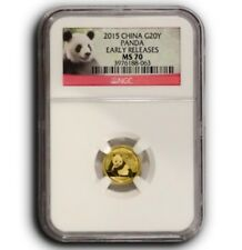 2015 1/20oz China 20¥ Gold Panda - NGC Early Release MS70 - .999 Fine Gold