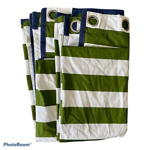 Set Of Pottery Barn Kids Rugby Grommet Curtain Panels 50x84 Green Stripe Blue  2