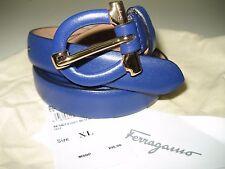 "$295 NEW Salvatore Ferragamo Women Small Gancini Blue Leather Belt 36"" 90 CM Tag"