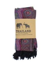 100% Pashmina Scarf Hand Made in Thailand - Black & Pink - Pure Cashmere Soft