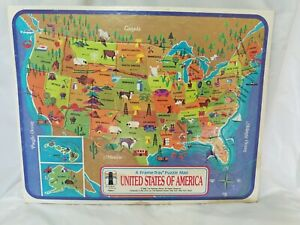 1968 Rainbow Works United States of America Frame-Tray Puzzle Map