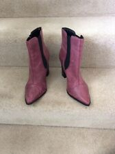NEXT Purple Ankle Boots, Pointed Toe, Elastic Sides, Chunky Heel, UK SIZE 6