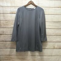 J.Jill Ponte Knit Tunic Top Women Size Small Grey 3/4 Sleeves Oversized Stretchy
