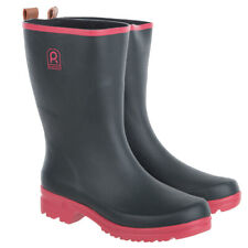 Womens Outdoor Ankle Wellies Wellington Boots Rubber Black/Pink Various Sizes