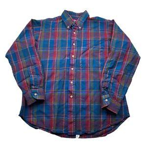 Vintage 90s Sir Pendleton Virgin Wool Purple Blue USA Flannel Button Shirt Large