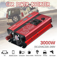 3000W Wechselrichter Spannungswandler 4 USB AC 12V auf DC 220V Stromerzeugung 1E