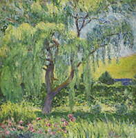 Claude Monet Blanche Hoschede Monet Giverny Willow And Roses Giclee Canvas Print