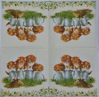 10 Paper Napkins Serviettes 25x25cm Kittens Kitties