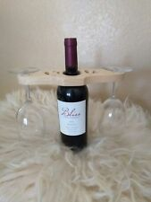 Handcrafted Pine Wood Wine Bottle Caddy Wine Glass Holder