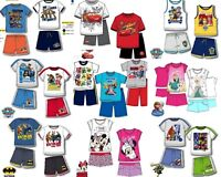 Boys Girls Kids Disney 2 Piece Summer Set T-shirt Top & Shorts Age 3-10 Years