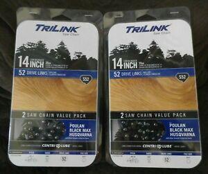 "TriLink Saw Chain 14 In / 14""  Low Kickback S52 Saw Chain 2 Pack NEW"