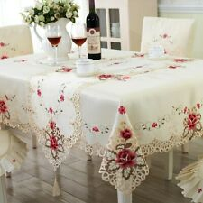Europe Polyester Tablecloths Embroidered Floral Hollow Table Covers Rectangular