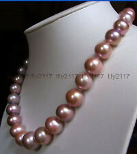 purple pearl necklace 18inch 14K Beautiful charming south sea 11-12mm pink