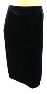 Kathie Lee black velour pull on spandex stretch side split plus skirt 26/28W