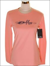 Bnwt Women's Oakley Stretch Script Long Sleeved T Shirt Small New Pink