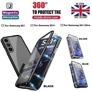For Samsung S21 S21+ Ultra 5G Front and Back Glass Full Body Magnetic Metal Case