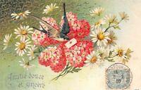 CPA fantaisie  Amitié douce et Sincère, fleurs et hirondelle portant une lettre