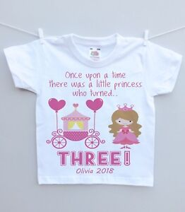 Personalised childs tshirt top Birthday Party Gift any age name princess girl