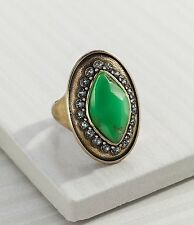 "Silpada K & R Green ""Botanical"" Brass Swarovski Resin Ring Size 9 KRR0072"