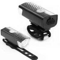 USB Rechargeable Bike Bicycle LED Head Front Light & Rear Tail Lamp Set RF