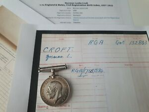 WW1 British War Medal to Gnr Croft, 161st Sge Bty R.G.A, Nantwich Man