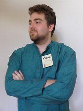 Vintage retro 90s unused M mens green hippie grandpa shirt top as new tags
