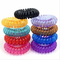 100pcs Elastic Phone Cord Line Rubber Hair Ties Band Rope Ponytail Holder Lots