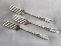 WM Rogers & Son AA International Silver 1941 Gardenia 3 Dinner Fork Silver Plate