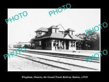 OLD LARGE HISTORIC PHOTO OF WINGHAM ONTARIO CANADA, THE RAILWAY STATION c1910