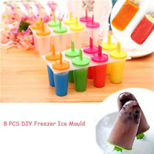 Ice Cream Mold Pop Lolly Maker Form Frozen Groovy Ice Block Moulds 8 Pieces Set