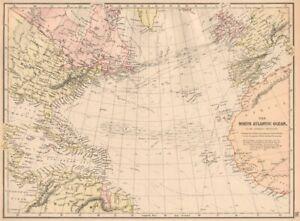 NORTH ATLANTIC OCEAN. Telegraph cables/dates. Ocean currents/velocities 1882 map