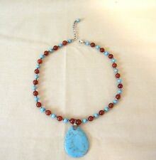 Sterling Silver, Turquoise, and Carnelian Beaded Pendant Necklace