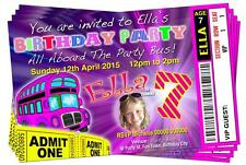 BIRTHDAY PARTY INVITATIONS Party Bus Theme Pink Personalised Ticket Style