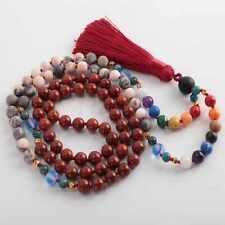 8mm 108 knot 7 chakras Rhodochrosite red Zebra stone Necklace spread Gift Wrist