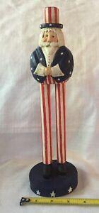 James Haddon Signed Uncle Sam Flag Folk Art Carving Patriotic Long Legs