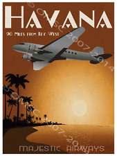 Majestic Airways Metal Sign, Fly Key West to Havana, Vintage Airplane Den Decor