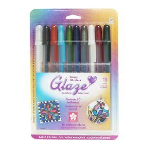 38369 Sakura Gelly Roll Glaze Gel Pen, Glossy Basic Colors, Pack of 10 Pens