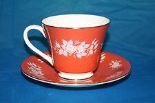 Aynsley Tea Cup Saucer England Bone China Orange w/ white flowers Vintage