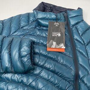 Mountain Hardwear Ghost Whisperer Women's Blue Full Zip Goose Down Jacket New