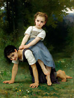 """Large Oil painting Bouguereau - Young beauty girls The Horseback Ride canvas 36"""""""